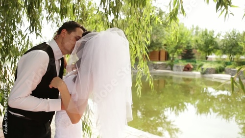 Ground married pair hugs and kisses under a large willow