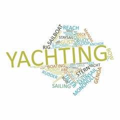"Abstract word cloud for ""yachting"" with related tags and terms"