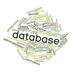 "Word cloud for ""database"""