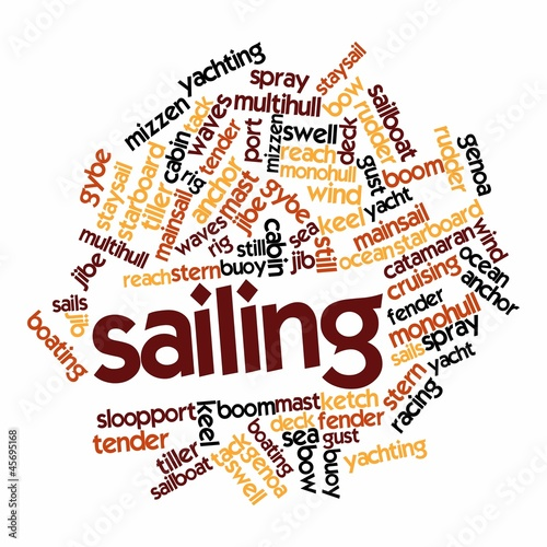 "Abstract word cloud for ""sailing"" with related tags and terms"