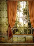 Fototapeta Wiktoriańskie okno z widokiem na drzewa