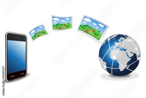 ベクター、スマートフォンからインターネットへ写真をアップロード