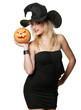 The beautiful witch in black hat