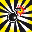 danger Bomb explosion in yellow and black background