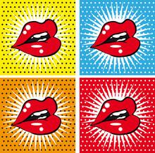 Ouvrez les lèvres rouges sexy humides avec des dents pop art ensemble horizons