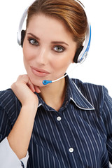 Headset. Customer service operator woman with headset smiling lo