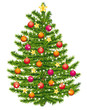 Decorated christmas tree. Warm colored ornaments.