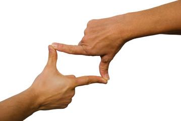 Hände bilden Rahmen