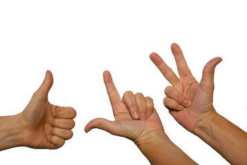 Hände zeigen eins, zwei, drei