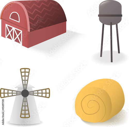 Isolated rural objects on white background