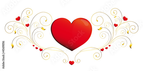 heart, hearts, red,krausens,gold, background