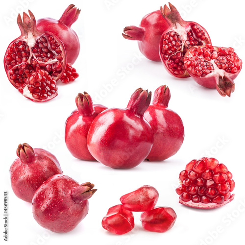 Collection of pomegranate fruits isolated on white background