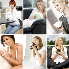 Compilation of women taking a break