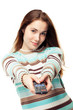 Girl using remote control