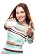 Girl showing business card and thumb up