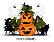 Happy Halloween mit Hexe , Kater und Kürbis