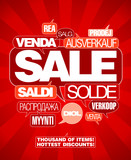 Sale design template written in many languages.