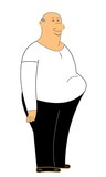 fat man clipart over white