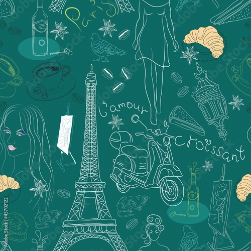 Tuinposter Doodle Seamless background with different Paris doodle elements
