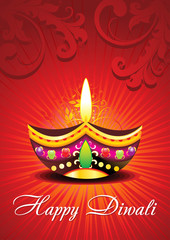 abstract diwali card design