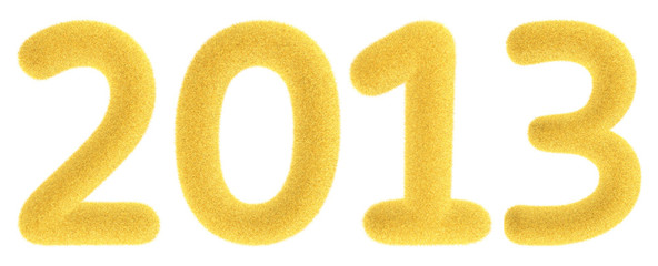 Furry yellow 2013 3d numbers isolated on the white background.