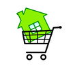 Green house in shopping cart