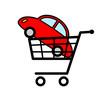 New car in shopping cart