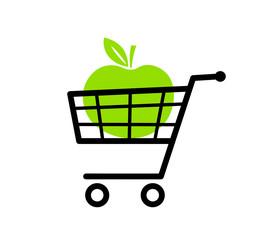 Green apple in shopping cart