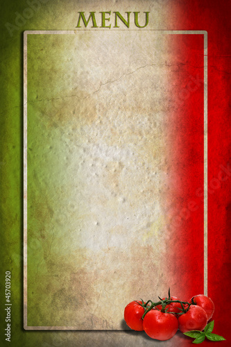 Italian flag with tomatoes and frame