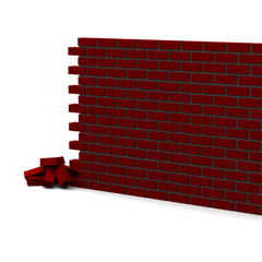 Unfinished brick wall 3d