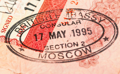 British visa entry and exit stamps in passport