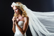 Bride in white dress in studio
