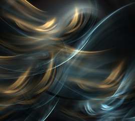 Abstract gold fractal wave on black background