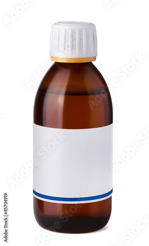 Medicine bottle with blank label