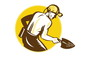 Coal Miner With Spade Shovel Retro