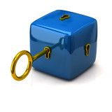 Security concept. Blue cube and golden key.