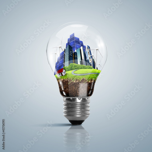 Lamp bulb with clean nature symbol inside