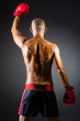 Muscular boxer in studio shooting