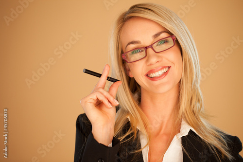 canvas print picture Attractive professional woman smoking