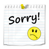 """SORRY"" message (post-it apologies apologise smiley)"