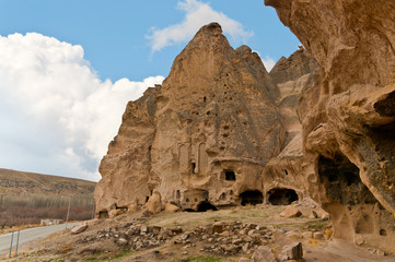 Ancient tuff stone cave Cathedral of Selime in Goreme Cappadocia