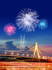 firework over city at night