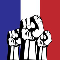Protests in France - flag France