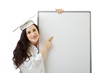 Young student with blank board