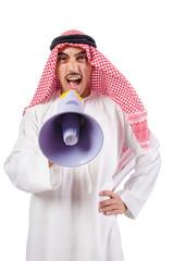 Arab man shouting through loudspeaker