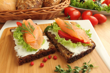 Fresh salmon sandwiches