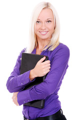 Businesswoman with laptop over white background