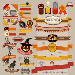 Set of Halloween retro ribbons