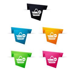 Symbole vectoriel papier origami E-shop / suppr panier