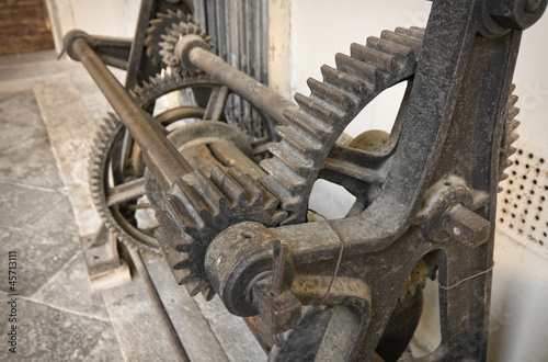 Old rotary printing press gears